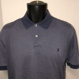 Polo Ralph Lauren Blue Striped Polo Shirt Pony L